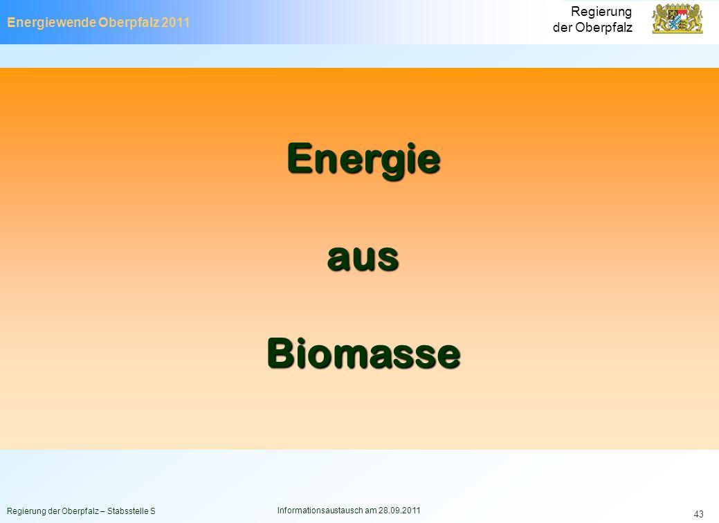 Energiewende Oberpfalz 2011 Regierung der Oberpfalz Regierung der Oberpfalz – Stabsstelle S Informationsaustausch am 28.09.2011 43 EnergieausBiomasse