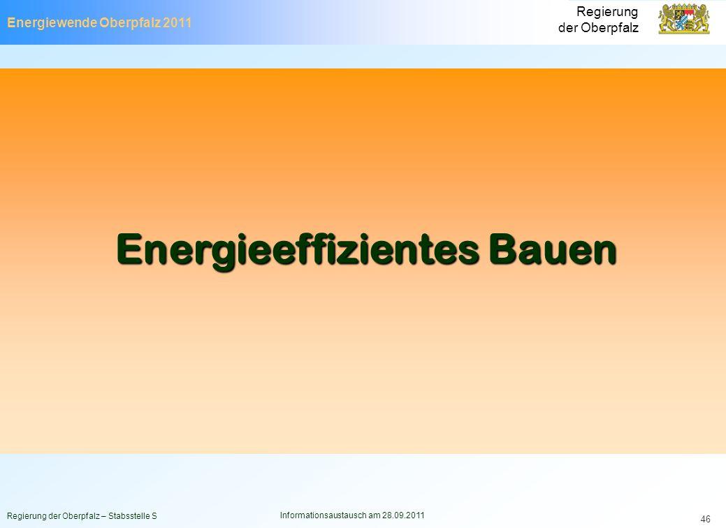 Energiewende Oberpfalz 2011 Regierung der Oberpfalz Regierung der Oberpfalz – Stabsstelle S Informationsaustausch am 28.09.2011 46 Energieeffizientes