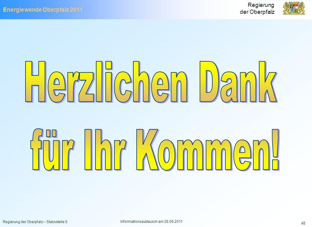 Energiewende Oberpfalz 2011 Regierung der Oberpfalz Regierung der Oberpfalz – Stabsstelle S Informationsaustausch am 28.09.2011 48