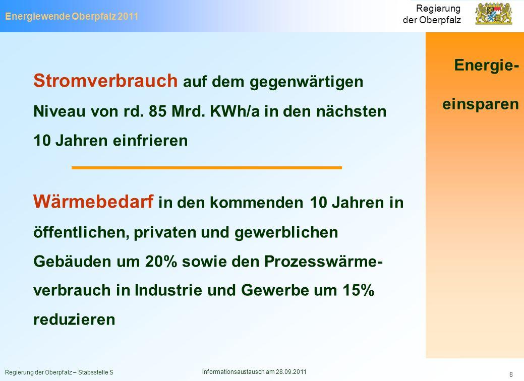 Energiewende Oberpfalz 2011 Regierung der Oberpfalz Regierung der Oberpfalz – Stabsstelle S Informationsaustausch am 28.09.2011 8 Stromverbrauch auf d