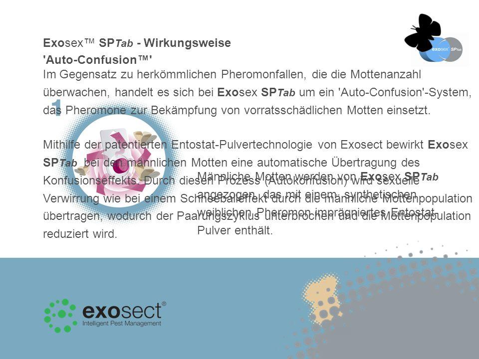 Exosex SP Tab - Wirkungsweise Auto-Confusion Männliche Motten werden von Exosex SP Tab angezogen, das mit einem synthetischen weiblichen Pheromon imprägniertes Entostat- Pulver enthält.