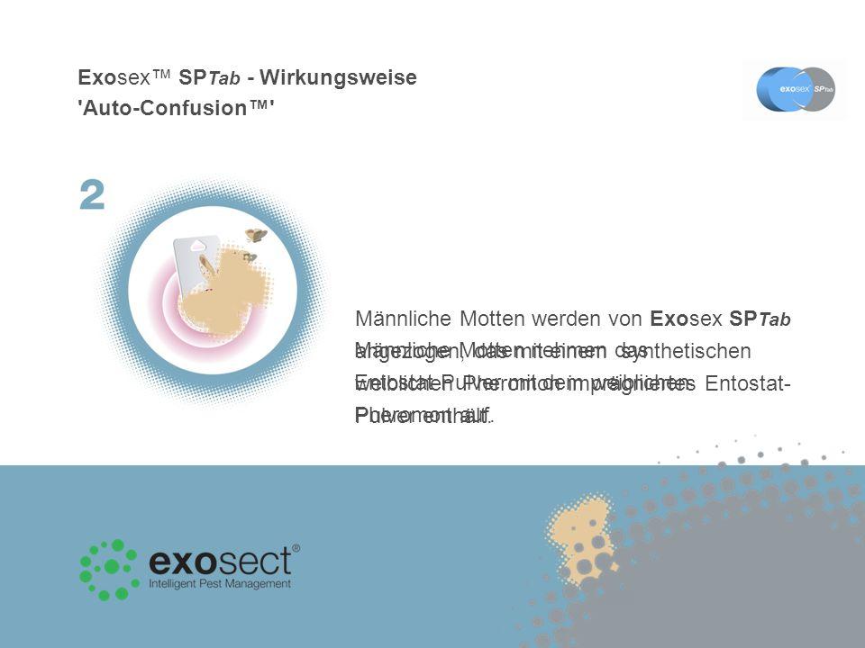 Exosex SP Tab - Wirkungsweise Auto-Confusion Männliche Motten nehmen das Entostat-Pulver mit dem weiblichen Pheromon auf.
