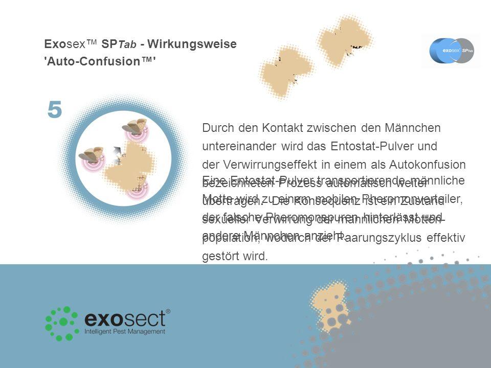 Exosex SP Tab - Wirkungsweise Auto-Confusion Eine Entostat-Pulver transportierende männliche Motte wird zu einem mobilen Pheromonverteiler, der falsche Pheromonspuren hinterlässt und andere Männchen anzieht.