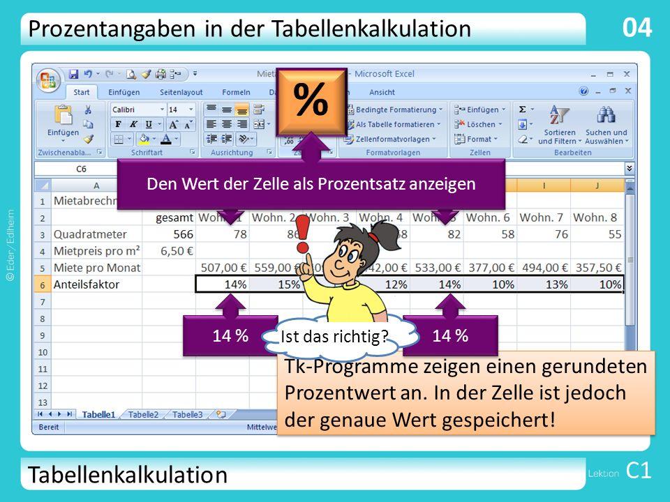 Tabellenkalkulation C1 04 78 m² 82 m² 14 % Tk-Programme zeigen einen gerundeten Prozentwert an. In der Zelle ist jedoch der genaue Wert gespeichert! P