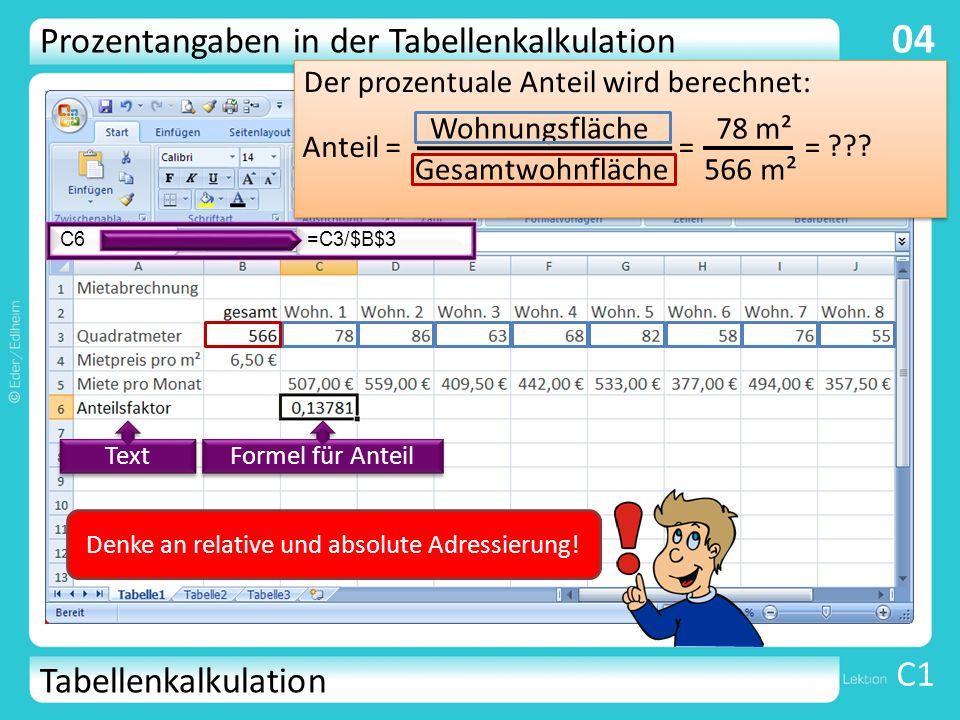 Tabellenkalkulation C1 04 Der prozentuale Anteil wird berechnet: Anteil = Wohnungsfläche Gesamtwohnfläche = 78 m² 566 m² = ??? =C3/$B$3 C6 Text Formel