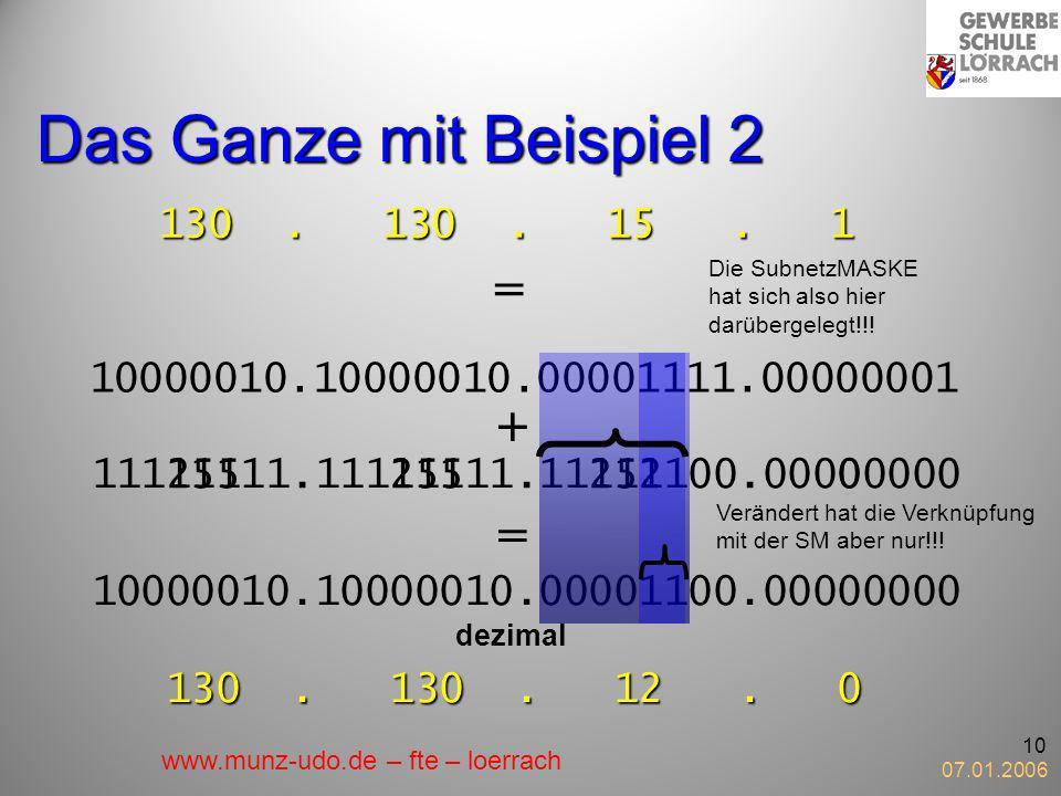 07.01.2006 10 Das Ganze mit Beispiel 2 130. 130. 15. 1 = 10000010.10000010.00001111.00000001 + 255. 255. 252. 0 + 11111111.11111111.11111100.00000000