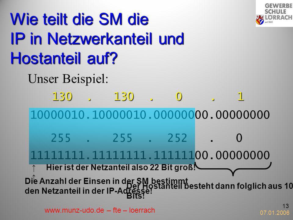 07.01.2006 13 Wie teilt die SM die IP in Netzwerkanteil und Hostanteil auf? Unser Beispiel: 130. 130. 0. 1 10000010.10000010.00000000.00000000 255. 25