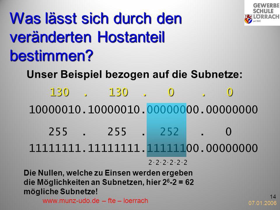 07.01.2006 14 Was lässt sich durch den veränderten Hostanteil bestimmen? Unser Beispiel bezogen auf die Subnetze: 130. 130. 0. 0 10000010.10000010.000