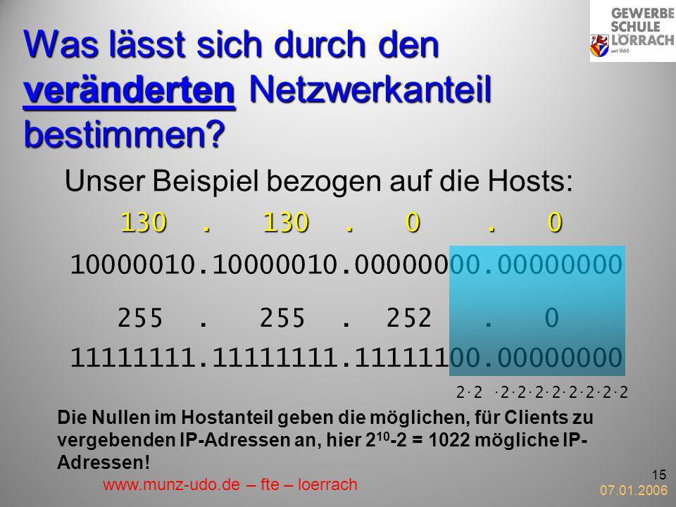 07.01.2006 15 Was lässt sich durch den veränderten Netzwerkanteil bestimmen? Unser Beispiel bezogen auf die Hosts: 130. 130. 0. 0 10000010.10000010.00