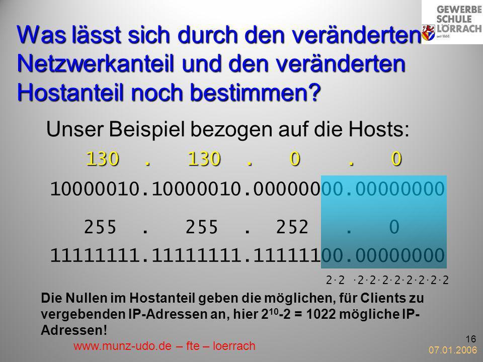 07.01.2006 16 Was lässt sich durch den veränderten Netzwerkanteil und den veränderten Hostanteil noch bestimmen? Unser Beispiel bezogen auf die Hosts: