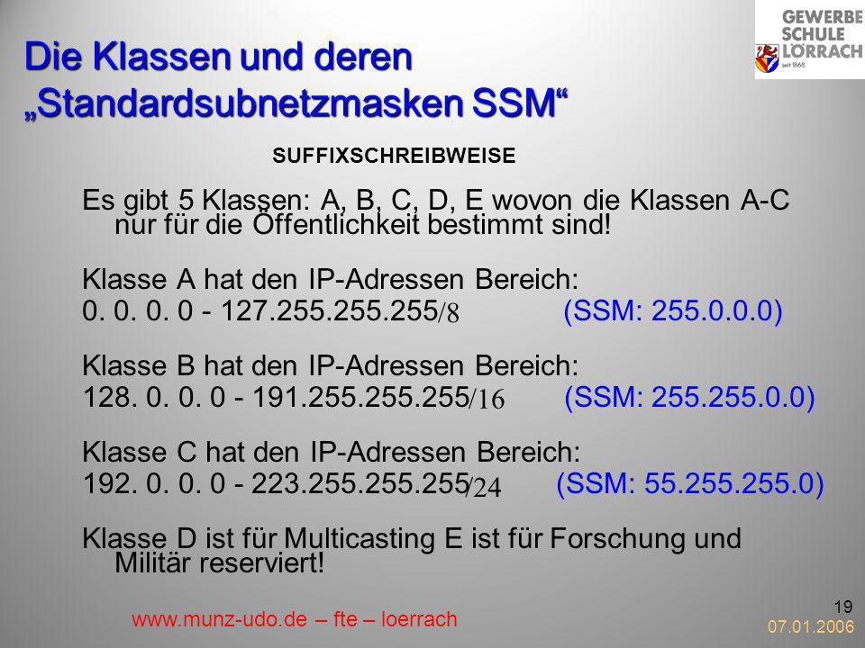 07.01.2006 19 Die Klassen und deren Standardsubnetzmasken SSM Es gibt 5 Klassen: A, B, C, D, E wovon die Klassen A-C nur für die Öffentlichkeit bestim