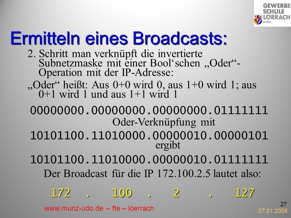 07.01.2006 27 Ermitteln eines Broadcasts: 2. Schritt man verknüpft die invertierte Subnetzmaske mit einer Boolschen Oder- Operation mit der IP-Adresse