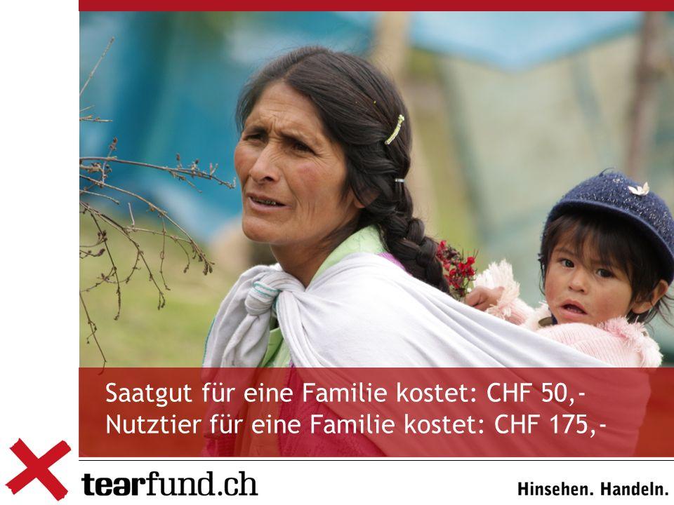 Saatgut für eine Familie kostet: CHF 50,- Nutztier für eine Familie kostet: CHF 175,-