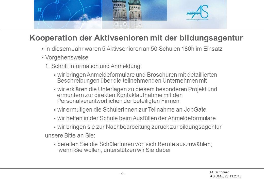 M. Schrinner AS Obb., 29.11.2013 - 4 - Kooperation der Aktivsenioren mit der bildungsagentur In diesem Jahr waren 5 Aktivsenioren an 50 Schulen 180h i