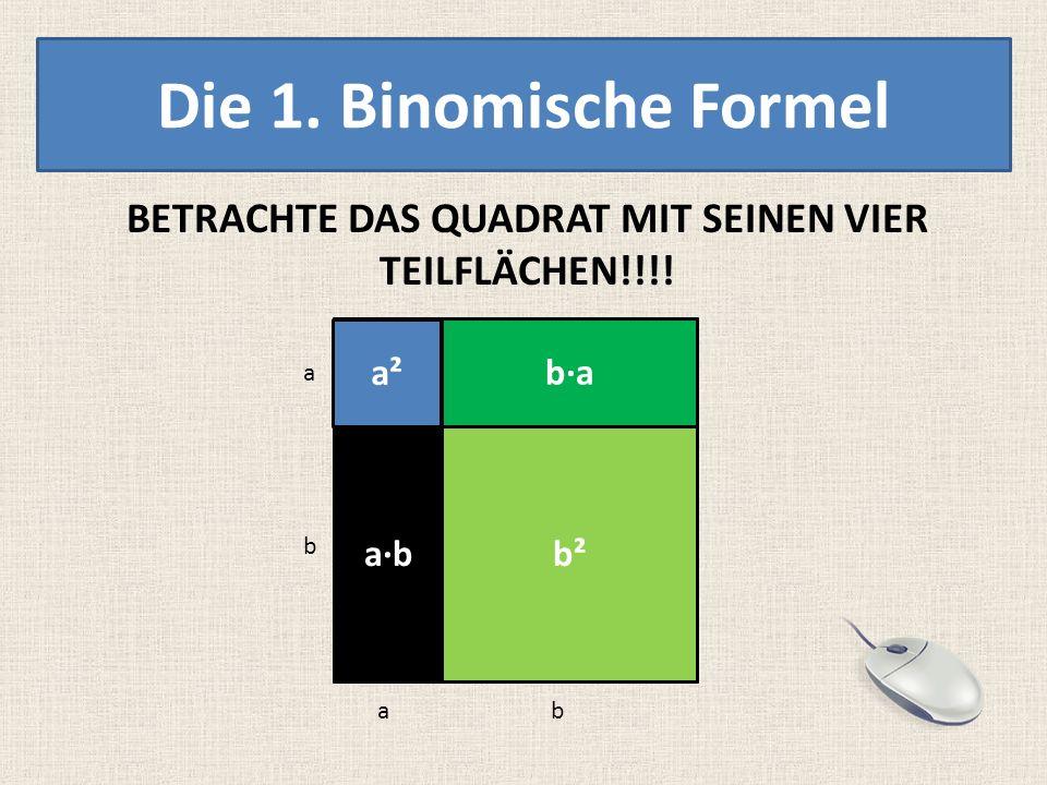 Die 1. Binomische Formel BETRACHTE DAS QUADRAT MIT SEINEN VIER TEILFLÄCHEN!!!! a b ab