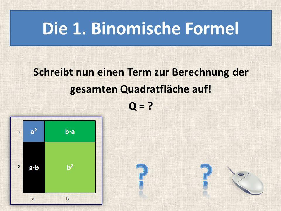a b ab Die 1. Binomische Formel BETRACHTE DAS QUADRAT MIT SEINEN VIER TEILFLÄCHEN!!!! b·a a² b²a·b