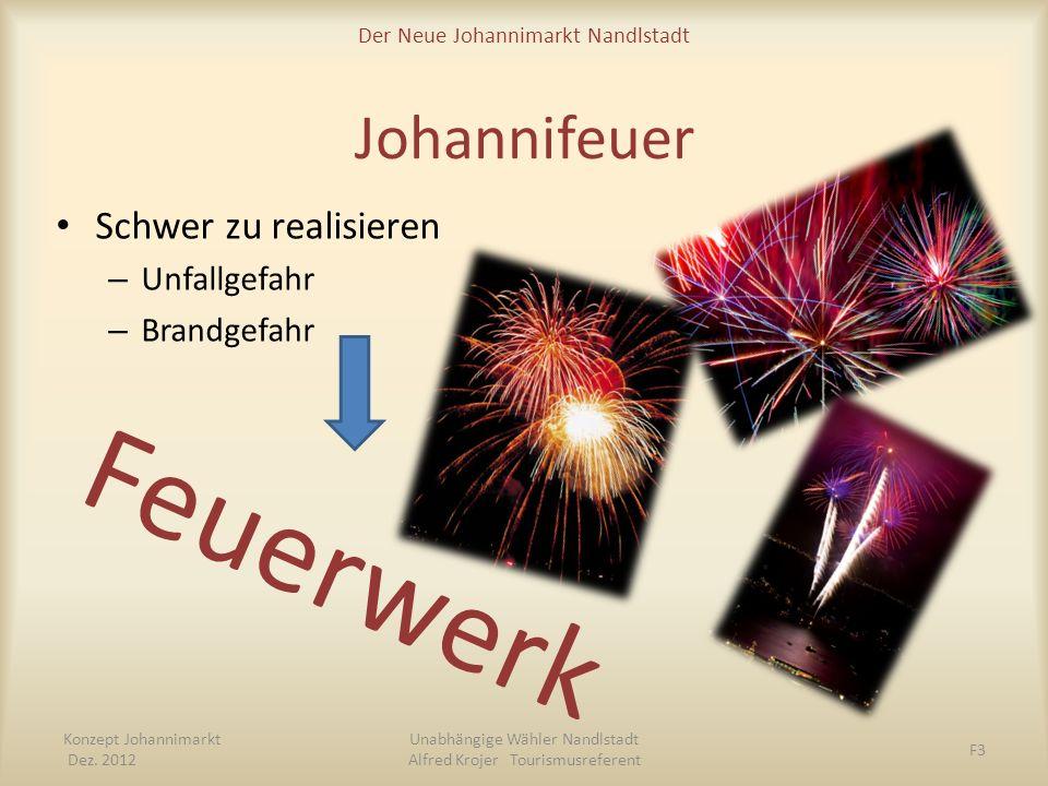 Der Neue Johannimarkt Nandlstadt Johannifeuer Schwer zu realisieren – Unfallgefahr – Brandgefahr Feuerwerk Konzept Johannimarkt Dez. 2012 Unabhängige