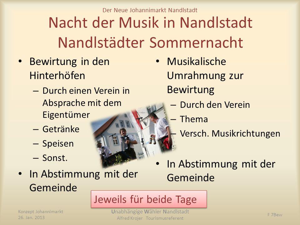 Der Neue Johannimarkt Nandlstadt Nacht der Musik in Nandlstadt Nandlstädter Sommernacht Bewirtung in den Hinterhöfen – Durch einen Verein in Absprache
