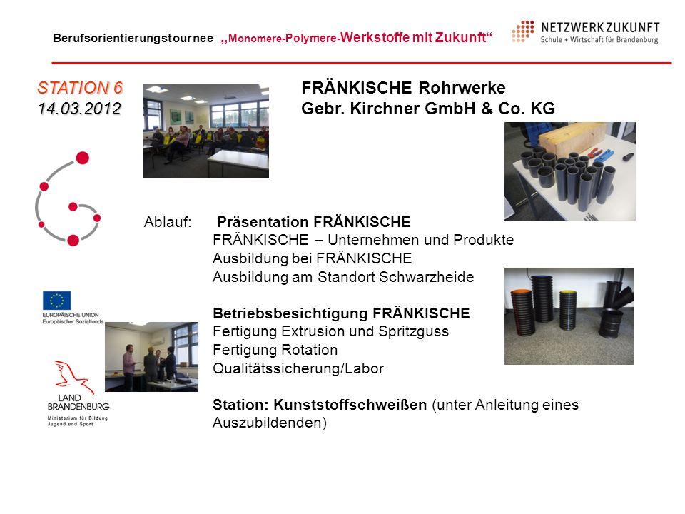 Berufsorientierungstournee Monomere -Polymere- Werkstoffe mit Zukunft Ablauf: Präsentation FRÄNKISCHE FRÄNKISCHE – Unternehmen und Produkte Ausbildung