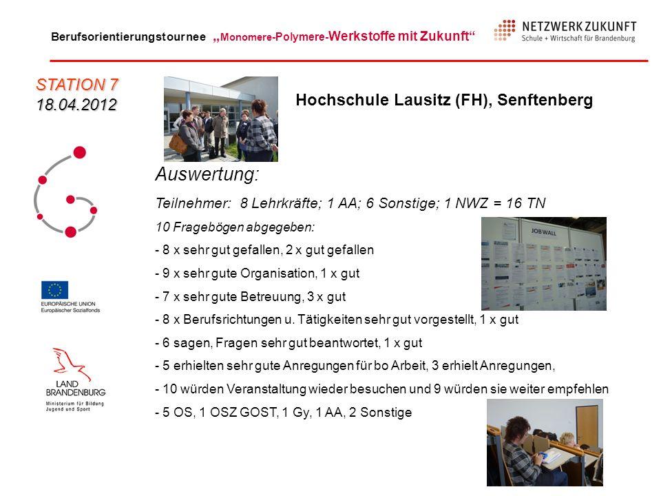 Berufsorientierungstournee Monomere -Polymere- Werkstoffe mit Zukunft Auswertung: Teilnehmer: 8 Lehrkräfte; 1 AA; 6 Sonstige; 1 NWZ = 16 TN 10 Fragebö