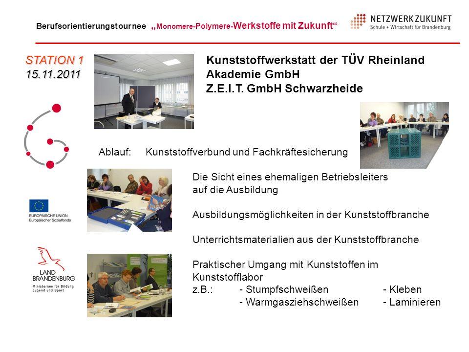 Berufsorientierungstournee Monomere -Polymere- Werkstoffe mit Zukunft Begründungen zu Frage 7 (wieder teilnehmen) und 8 (weiter empfehlen): (Auswahl) - gute Grundlage für Beratung, - interessant, lehrreich, - fördert Allgemeinwissen, - berufskundliche Informationen STATION 3 17.01.2012 Vestas Blades Deutschland GmbH