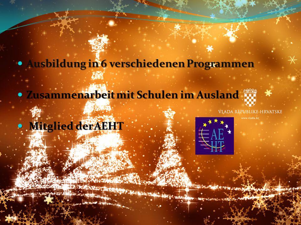 Ausbildung in 6 verschiedenen Programmen Ausbildung in 6 verschiedenen Programmen Zusammenarbeit mit Schulen im Ausland Zusammenarbeit mit Schulen im