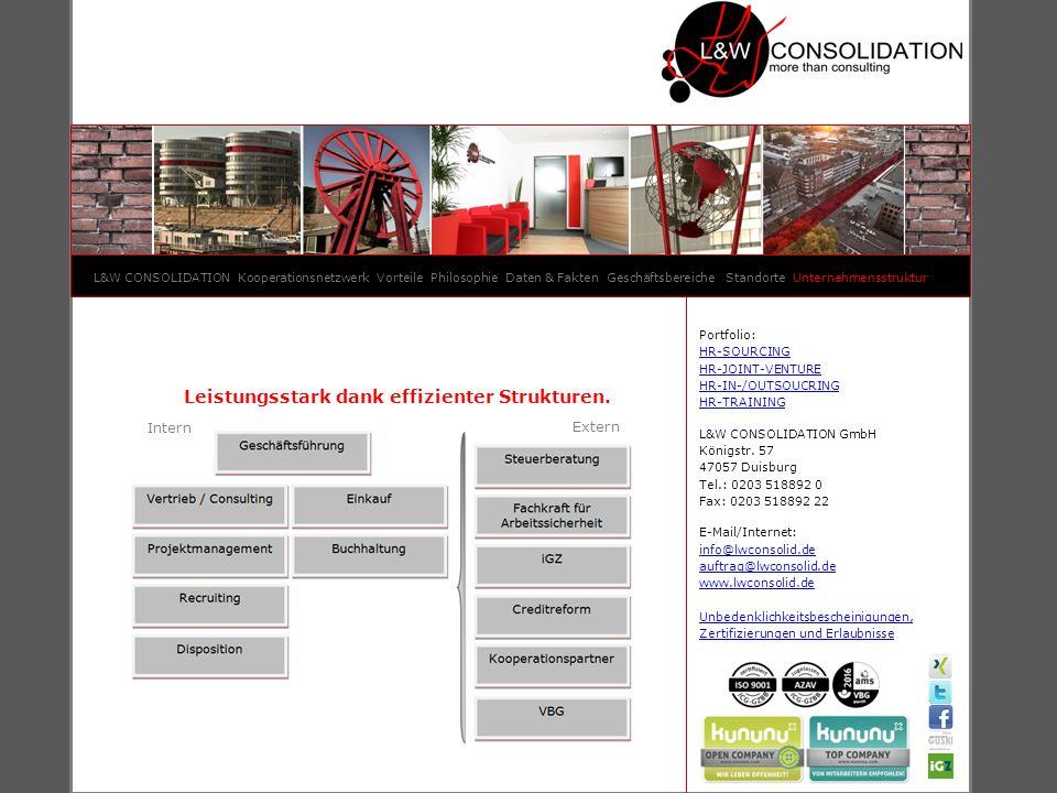 Leistungsstark dank effizienter Strukturen. Intern Extern L&W CONSOLIDATION Kooperationsnetzwerk Vorteile Philosophie Daten & Fakten Geschäftsbereiche