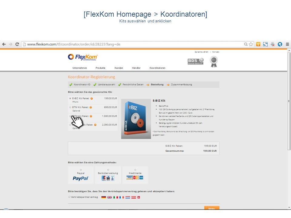[FlexKom Homepage > Koordinatoren] Kits auswählen und anklicken