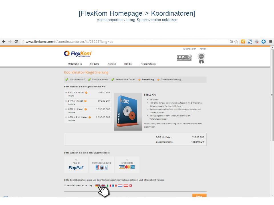 [FlexKom Homepage > Koordinatoren] Vertriebspartnervertrag Sprachversion anklicken