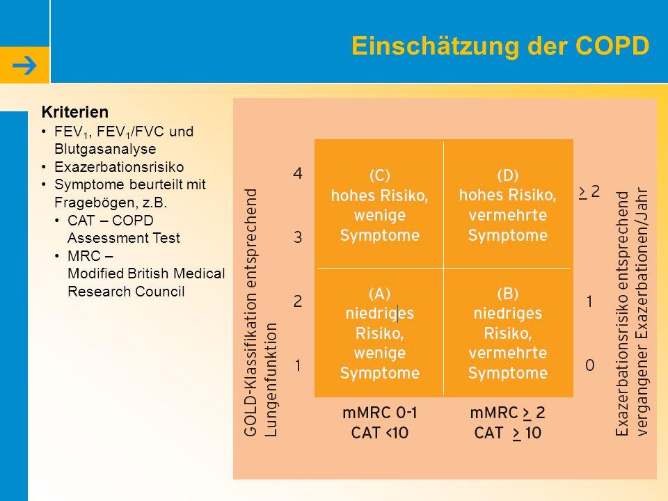 Einschätzung der COPD Kriterien FEV 1, FEV 1 /FVC und Blutgasanalyse Exazerbationsrisiko Symptome beurteilt mit Fragebögen, z.B. CAT – COPD Assessment
