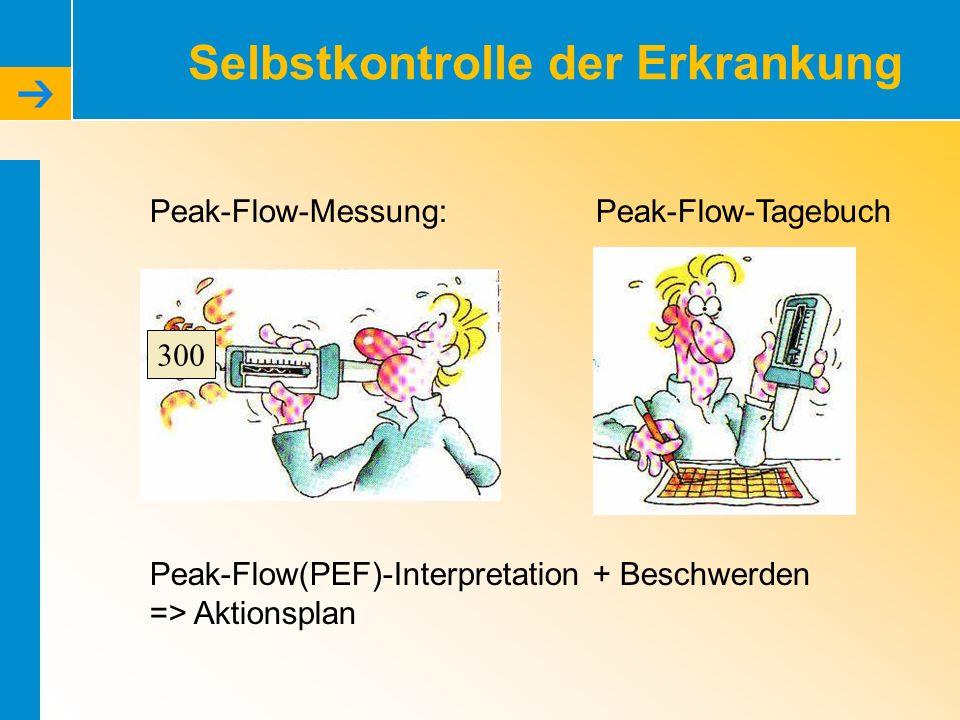Selbstkontrolle der Erkrankung Peak-Flow-Messung: Peak-Flow(PEF)-Interpretation + Beschwerden => Aktionsplan Peak-Flow-Tagebuch 300