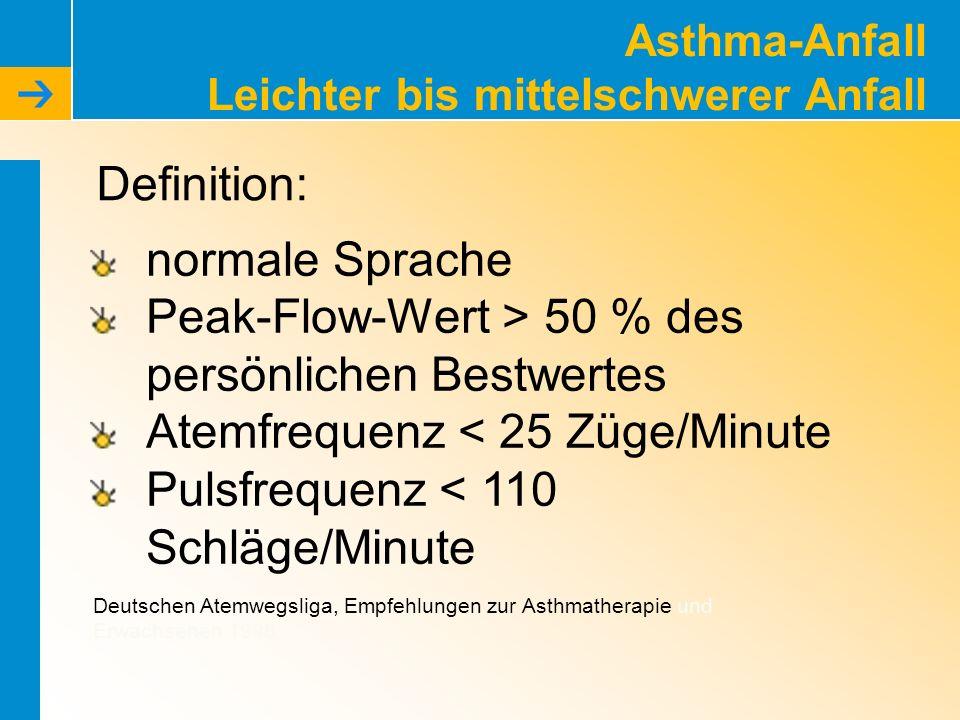 Asthma-Anfall Leichter bis mittelschwerer Anfall normale Sprache Peak-Flow-Wert > 50 % des persönlichen Bestwertes Atemfrequenz < 25 Züge/Minute Pulsf