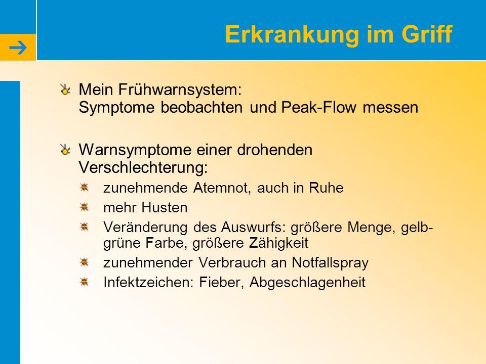 Erkrankung im Griff Mein Frühwarnsystem: Symptome beobachten und Peak-Flow messen Warnsymptome einer drohenden Verschlechterung: zunehmende Atemnot, a