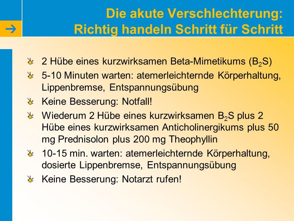Die akute Verschlechterung: Richtig handeln Schritt für Schritt 2 Hübe eines kurzwirksamen Beta-Mimetikums (B 2 S) 5-10 Minuten warten: atemerleichter