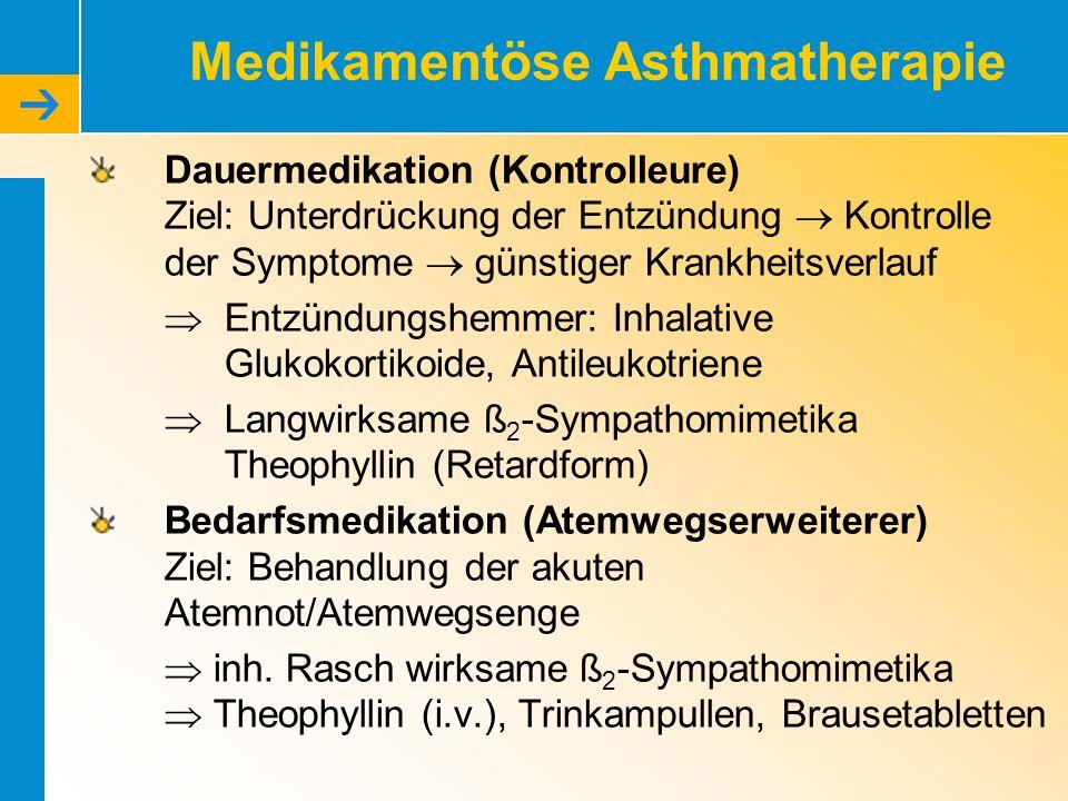 Medikamentöse Asthmatherapie Dauermedikation (Kontrolleure) Ziel: Unterdrückung der Entzündung Kontrolle der Symptome günstiger Krankheitsverlauf Entz
