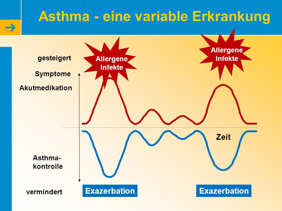 Asthma - eine variable Erkrankung Exazerbation gesteigert vermindert Akutmedikation Asthma- kontrolle Zeit Symptome Allergene Infekte Allergene Infekt