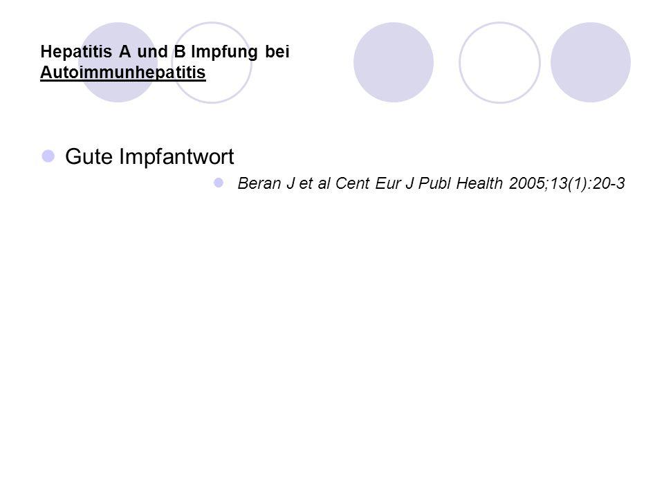 Hepatitis A und B Impfung bei Autoimmunhepatitis Gute Impfantwort Beran J et al Cent Eur J Publ Health 2005;13(1):20-3