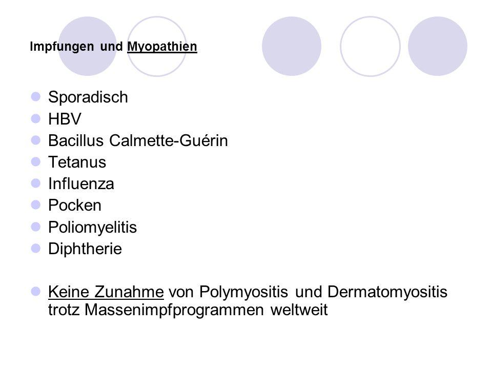 Impfungen und Myopathien Sporadisch HBV Bacillus Calmette-Guérin Tetanus Influenza Pocken Poliomyelitis Diphtherie Keine Zunahme von Polymyositis und