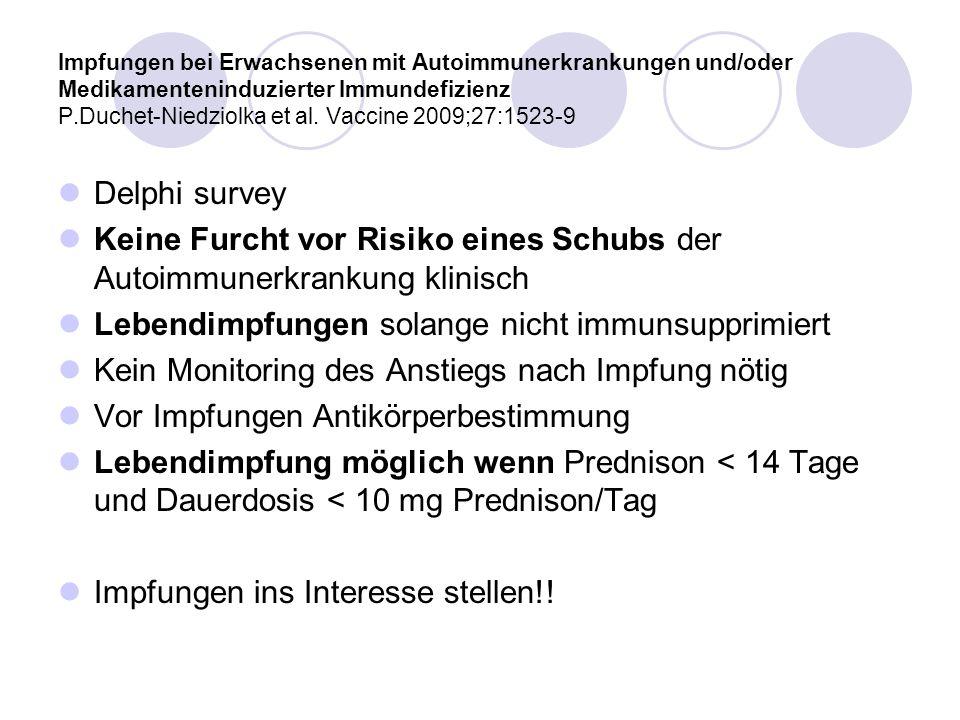 Impfungen bei Erwachsenen mit Autoimmunerkrankungen und/oder Medikamenteninduzierter Immundefizienz P.Duchet-Niedziolka et al. Vaccine 2009;27:1523-9