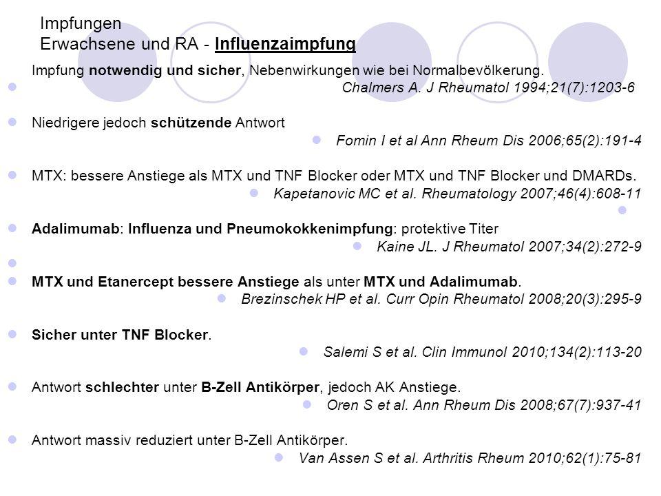 Pneumokokkenimpfung Bei RA und SLE: Sicher und immunogen Elkayam O et al.
