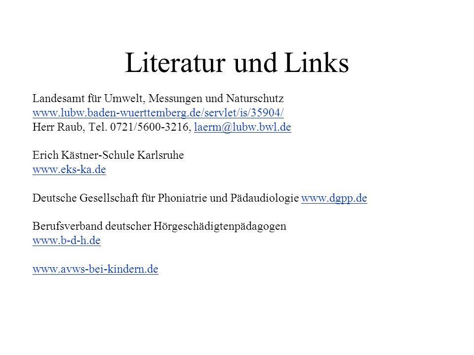 Literatur und Links Landesamt für Umwelt, Messungen und Naturschutz www.lubw.baden-wuerttemberg.de/servlet/is/35904/ Herr Raub, Tel. 0721/5600-3216, l