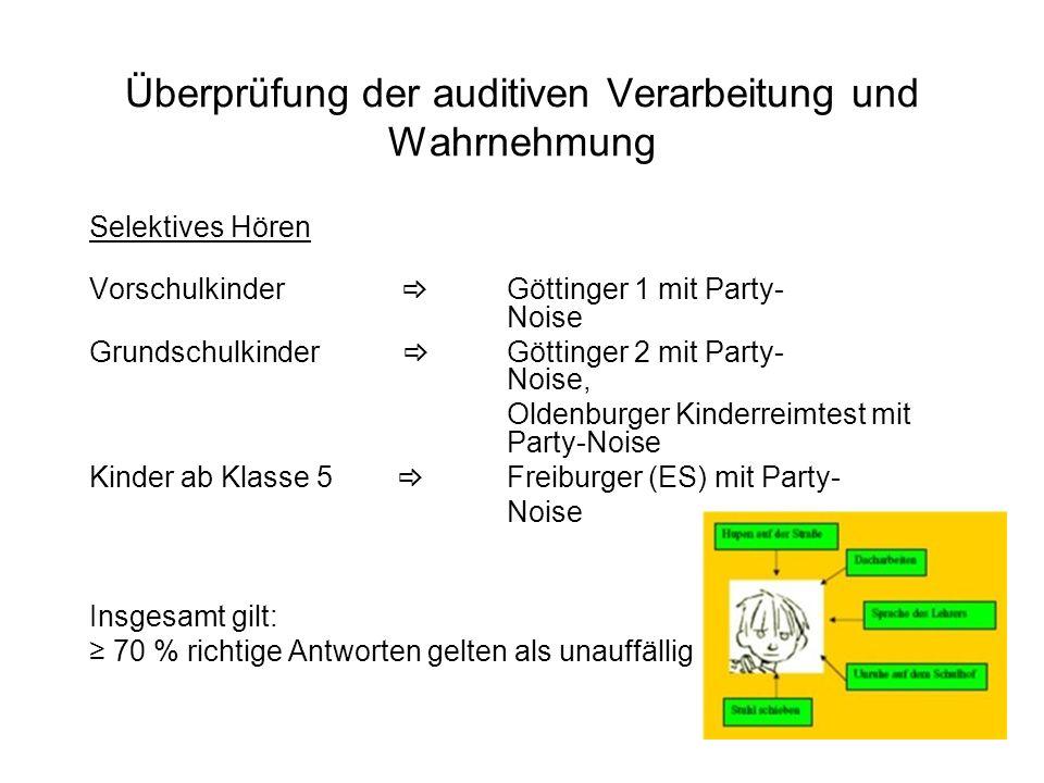 Überprüfung der auditiven Verarbeitung und Wahrnehmung Selektives Hören Vorschulkinder Göttinger 1 mit Party- Noise Grundschulkinder Göttinger 2 mit P