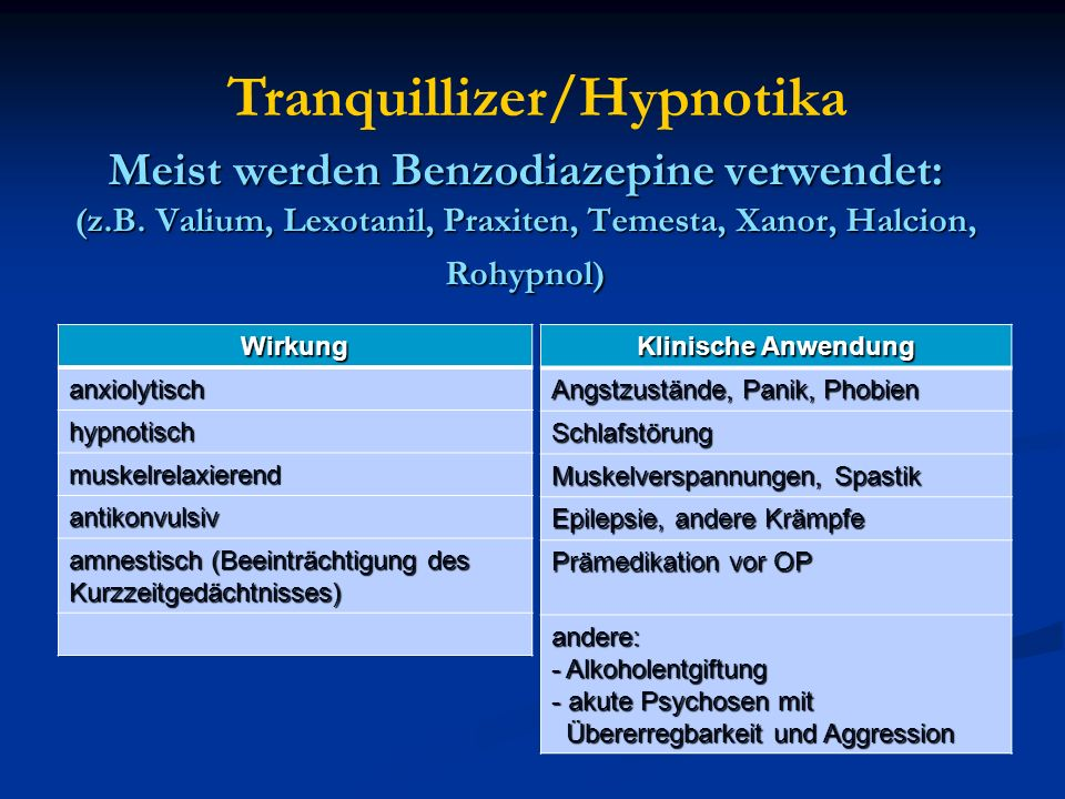 Meist werden Benzodiazepine verwendet: (z.B. Valium, Lexotanil, Praxiten, Temesta, Xanor, Halcion, Rohypnol) Wirkung anxiolytisch hypnotisch muskelrel