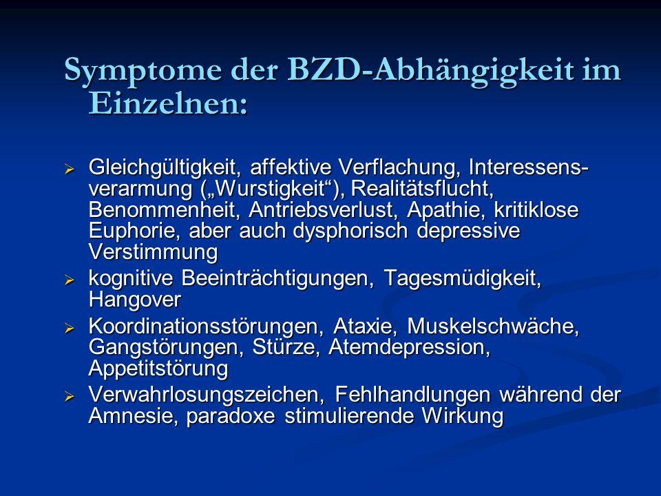 Symptome der BZD-Abhängigkeit im Einzelnen: Gleichgültigkeit, affektive Verflachung, Interessens- verarmung (Wurstigkeit), Realitätsflucht, Benommenhe