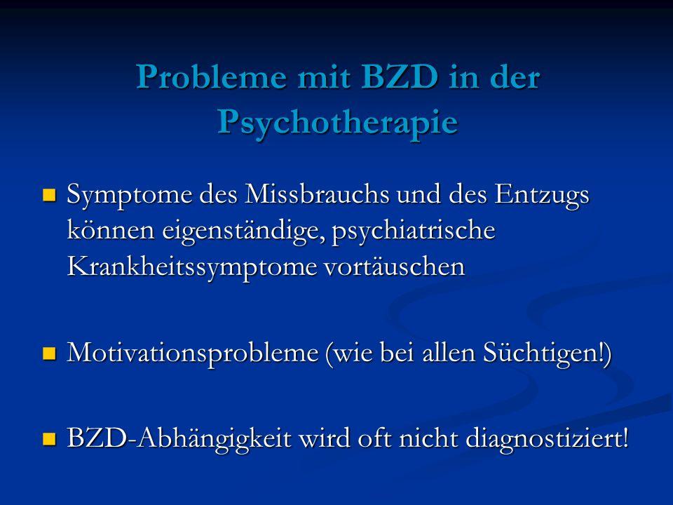 Probleme mit BZD in der Psychotherapie Symptome des Missbrauchs und des Entzugs können eigenständige, psychiatrische Krankheitssymptome vortäuschen Sy