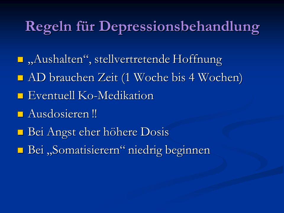 Regeln für Depressionsbehandlung Aushalten, stellvertretende Hoffnung Aushalten, stellvertretende Hoffnung AD brauchen Zeit (1 Woche bis 4 Wochen) AD