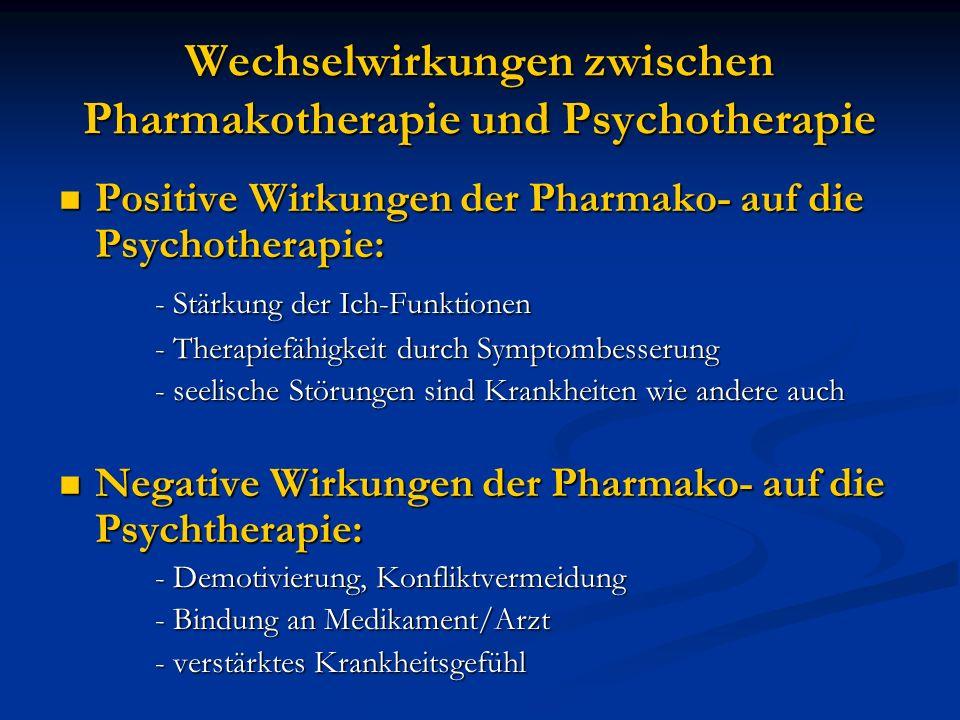 Wechselwirkungen zwischen Pharmakotherapie und Psychotherapie Positive Wirkungen der Pharmako- auf die Psychotherapie: Positive Wirkungen der Pharmako