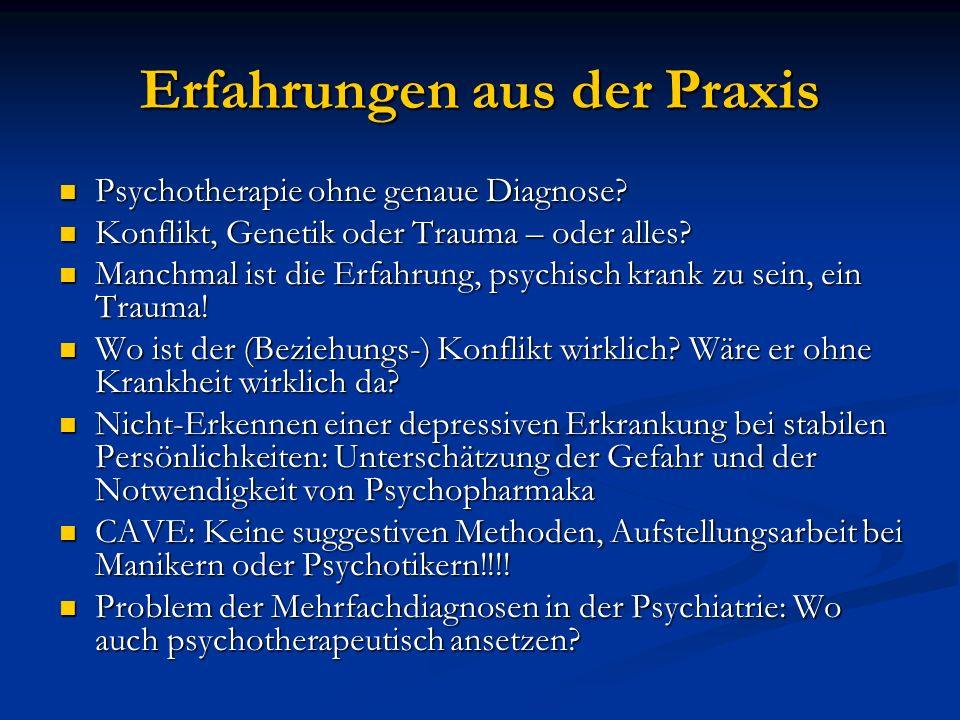 Erfahrungen aus der Praxis Psychotherapie ohne genaue Diagnose? Psychotherapie ohne genaue Diagnose? Konflikt, Genetik oder Trauma – oder alles? Konfl