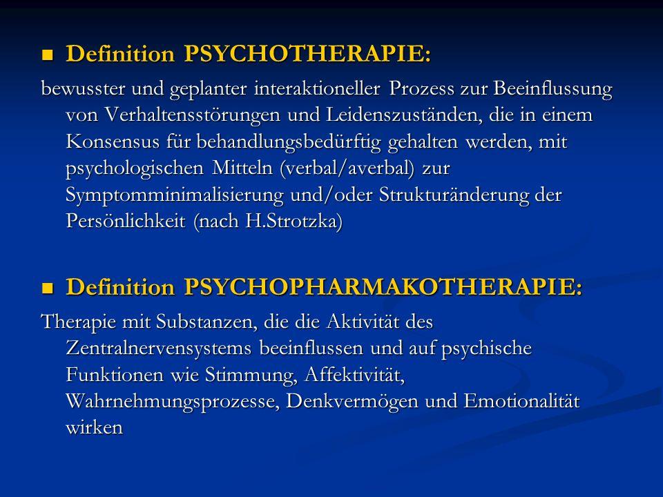 Definition PSYCHOTHERAPIE: Definition PSYCHOTHERAPIE: bewusster und geplanter interaktioneller Prozess zur Beeinflussung von Verhaltensstörungen und L
