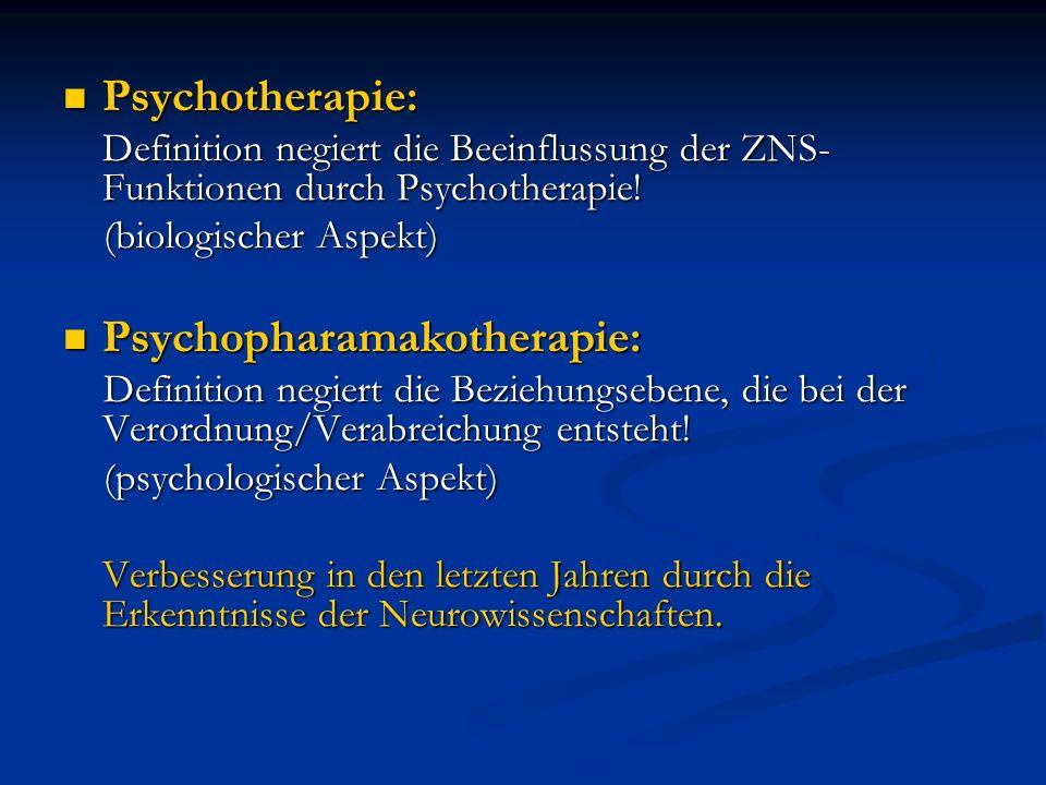 Psychotherapie: Psychotherapie: Definition negiert die Beeinflussung der ZNS- Funktionen durch Psychotherapie! (biologischer Aspekt) (biologischer Asp
